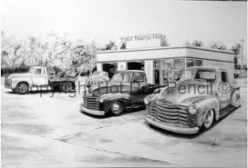 48-49-50-51-52-53 Chevy Pickup Truck Customized Pencil Drawing | Etsy