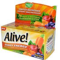Nature's Way, <b>Alive</b>!, <b>Daily Energy</b>, Multivitamin-Multimineral, 60 ...