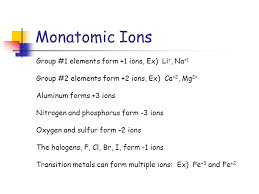 transition metals that form only one monatomic cation intro to names and formulas for ionic compounds november 2 ppt download