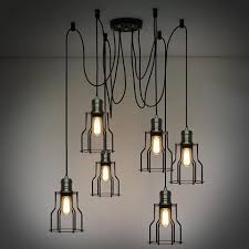rustic industrial lighting. 6 head industrial wire cage chandelier pendant lights rustic lighting e