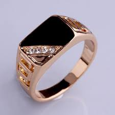 <b>1 Pc</b> Golden Color Ring With Black Stone & White Crystals <b>Fashion</b> ...