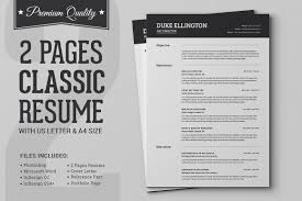 Pages Templates Resume Beauteous Two Pages Classic Resume CV Template Resume Templates Creative