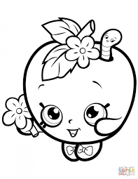 Apple Blossom Shopkin Coloring Page Free Printable Pages Super At