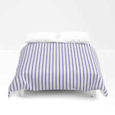 navy blue on white mattress ticking stripes duvet cover