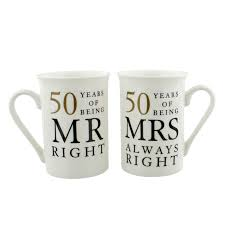 golden anniversary gift ideas 50th anniversary gift set two china mugs mr right and mrs always