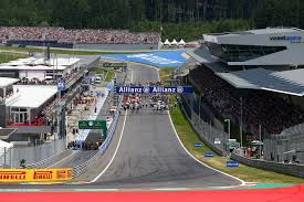 austria view red bull. SPIELBERG, AUSTRIA \u2013 JUNE 22: A General View Of The Grid And Grandstand Before Start Austrian Formula One Grand Prix At Red Bull Ring On June 22, Austria U