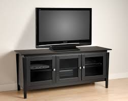 black wooden tv cabinets with glass doors and steel knob on short with corner tv unit