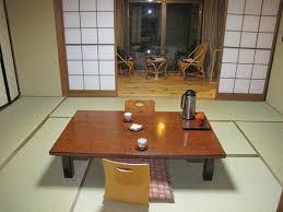 Kamesei Ryokan: traditional Japanese dining table in room.