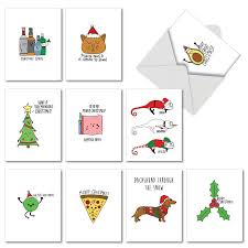 Christmas Light Puns 10 Assorted Fun Christmas Puns Christmas Cards With Envelopes 4 X 5 12 Inch Boxed Seasons Greetings Cards Funny Illustrations Featuring Christmas