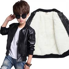 children boys winter coat new 2019 winter thick velvet kids pu leather jacket fashion solid childrens
