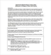 Lesson Plan Templates High School High School Lesson Plan Template 9 Free Pdf Word Format