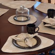 wedge placemats tan lattice jacquard wedge shaped round table