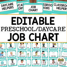 Helpers Chart Editable Preschool Daycare Job Chart