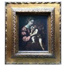 18th century italian madonna with child religious oil painting on wooden panel for