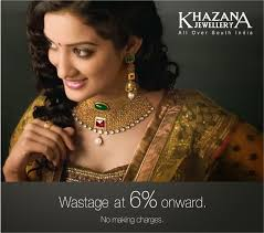 model in broad antique gold necklace studded with big emerald and ruby and kundans paired with designer antique gold jhumkas by khazana jewellers