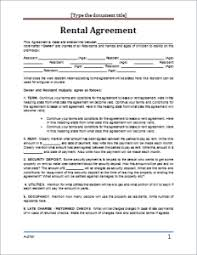 Rental Contract Template Word Rental Agreement Form Template For Ms Word Document Hub
