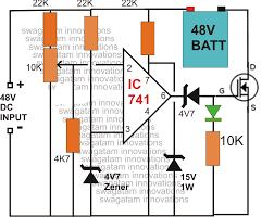 make this 48v automatic battery charger circuit 24v battery charger circuit with auto cut off at 24 Volt Battery Charger Diagram