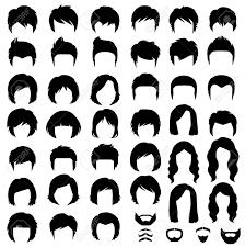 女と男の髪ヘアスタイルのベクター シルエットのイラスト素材ベクタ