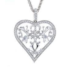 18k white gold half carat diamond large heart pendant houston gold exchange