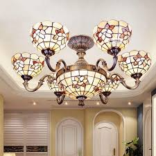 2018 tiffany chandelier 32 inch shell decor ceiling lamps mediterranean style hanging chandelier living room six heads tiffany chandelier from soon