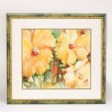 Signed and Framed Priscilla Powers Print of a Floral Watercolor | EBTH