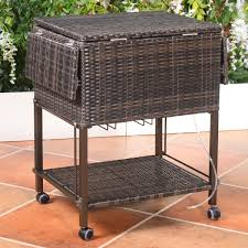 patio rolling beverage cooler cart beer with outdoor bar and stainless steel on wheels chest deck outside coolers