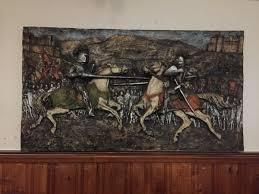 roman mcm j segura wall art fiberglass paint original signed 1960 s knight templar joust lances renaissance middle ages