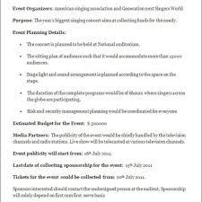 Event Planning Proposal Business Plans Event Plan Template Management Sample Pdf