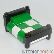 Image is loading LEGO-Furniture-Bed-Black-w-Green-amp-White-