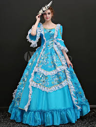 Find victorian dress, victorian costume women's ball gown, gothic steampunk costume, renaissance gown, theater stage costume and steampunk clothing. Victorian Dress Costume Women S Light Sky Blue Princess Half Sleeves Victorian Era Outfits Retro Dress For Women Halloween Milanoo Com