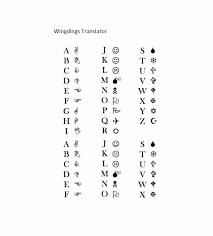 Microsoft Word Wingdings Chart 45 Free Wingdings Translator Charts Template Lab