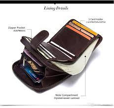 Designer Rfid Wallets Leather Wallets Contacts Brand Men Genuine Card Holder Luxury Purse Designer Mini Wallet Rfid Walet Hasp Zipper Dollar Price Hobo Wallets Man Purse