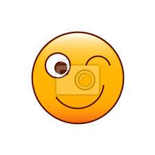 Wink Smiley Vektor Symbol Gelb Emoticon Wandposter Poster