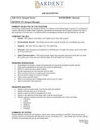 Waitress Description For Resume Job Description Resume Medical Receptionist For Examples Waitress 26