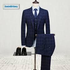 Suit Pattern Best Latest Coat Pant Designs Navy Blue Formal Men Suit Skinny Square