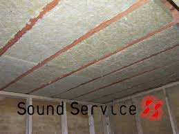 acoustic mineral wool sound absorbing infill & Acoustic mineral wool sound absorption installed between ceiling joists Adamdwight.com