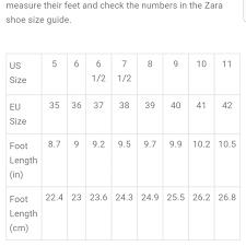Zara Shoe Size Chart