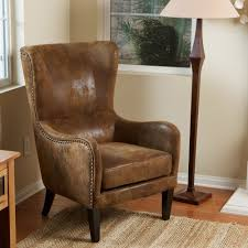 traditional wingback chairs. Awesome Leather Wingback Chair For Your Living Room Design: Traditional With Brown Chairs R