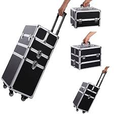 professional makeup train case portable aluminum rolling cosmetic storage jewelry organizer