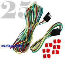25' 4 way trailer wiring connection kit flat wire extension harness Wiring a Trailer Connector 25ft 4 way trailer wiring connection kit flat wire extension harness boat car rv