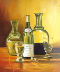 wine bottle still life modern oil painting