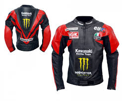 mens red black kawasaki racing team motorcycle leather jacket