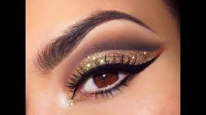 black and gold glitter eye makeup for hazel eyes pop how to make at home suitable skin tone