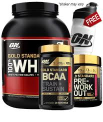 optimum nutrition gold standard whey bcaa pre workout stack