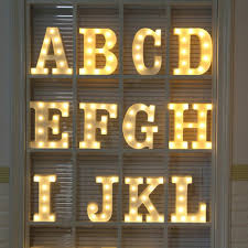 26 Letters Warm White Led Night Light Marquee Sign Alphabet Lamp For