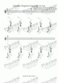 Altissimo Register Fingerings For Sax For Solo Instrument Alto Saxophone By Gregg Mazel Sheet Music Pdf File To Download