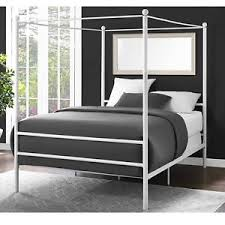 Details about Canopy Bed Frame Full Size Metal Princess Girls Kids Bedroom Furniture White New