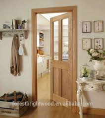 Living room white oak wooden door with clear tempered glass
