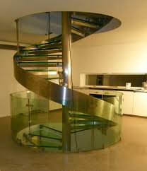 Great Spiral Glass Stairs Inserted Chrome Column Without Railing And Circle  Stairwell Ideas In Luxury Interior Home Designs