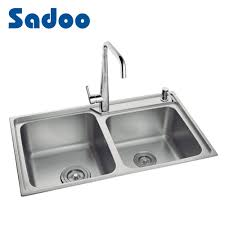 China Kitchen Sink Double Bowl Double Drain Ss 304 Material Sd 7008